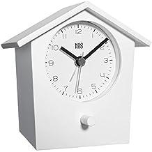 KOOKOO EarlyBird blanco reloj despertador alarma con canto de pájaros reales y un gong de tres tonos; caja de madera MDF; despertar naturalmente con grabaciones de la naturaleza