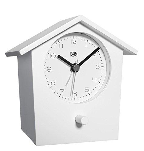 KOOKOO EarlyBird Blanco, Reloj Despertador con Canto de pajaros y un Gong de Tres Tonos; Caja de Madera...