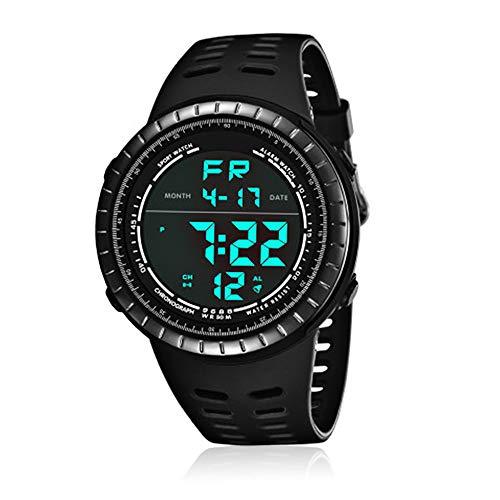 CFGem Herren Uhr Digitaler Sport Wasserdicht mit PU-Kunststoff Armband SNK-9688 Schwarz