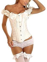 emmarcon Sexy Corsetto Bustino Burlesque stringi Vita Lingerie Intimo da Donna C6362