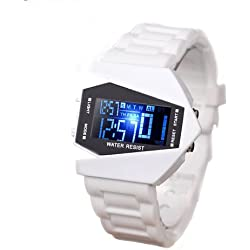 JSDDE Unisex Men's Cyber Style Multi-functional LED Digital Stopwatch Analog Wrist Sport Quartz Watch, White