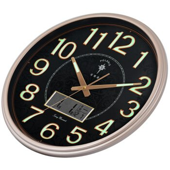 Wall clocks orologio da parete campana famiglia pendolo calendario temperatura soggiorno forte luce notturna orologio calendario perpetuo creativo orologio al quarzo muto orologio piastra nera oro chiaro
