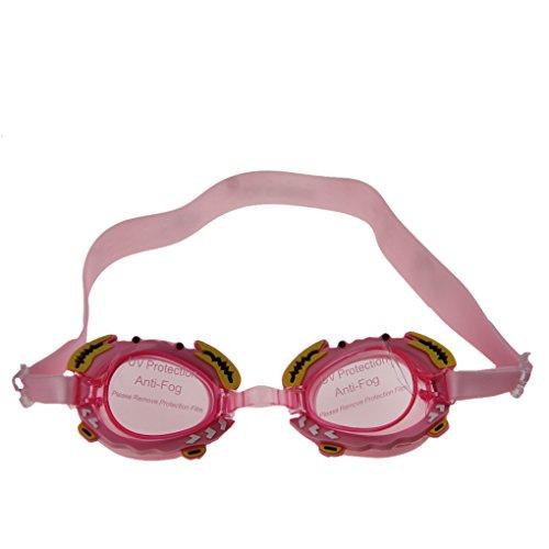 YSXY Kinder Schwimmbrille UV Schutz & Anti-Fog Schwimmen Brille mit Niedliches Krabbe-Form für Mädchen und Jungen, Silikonband und Stegbreite Verstellbar, Packung inkl. Ohrstöpsel PINK -
