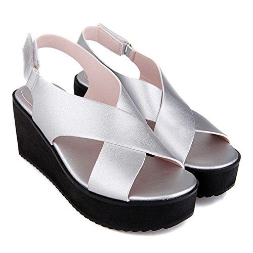 Peep Silber Toe Keilabsatz Slip On Schuhe Sandalen Mode COOLCEPT Damen YqUO44