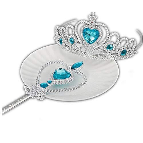 KAIMENG Mädchen Party Cosplay Kleid Kostüme Zubehör Kit Snow Queen Mädchen Krone und Zauberstab (Snow Queen Kleid Kostüm)