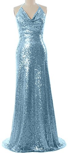 MACloth Women Halter Cowl Neck Formal Gown Long Wedding Party Bridesmaid Dress Sky Blue