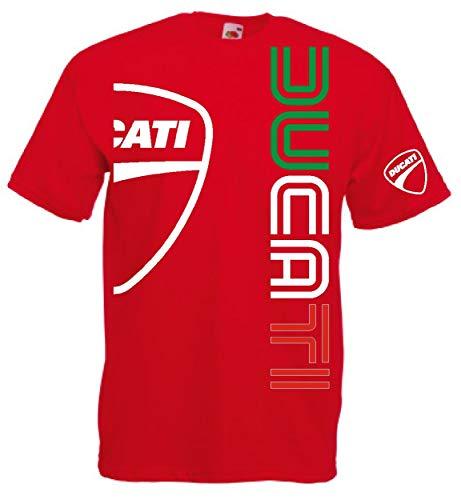 Generico t-Shirt Ducati Logo m1 Biker Motociclisti Rider Hypermotard Monster Scrambler Panigale Moto 12 Colori(M, Rosso)