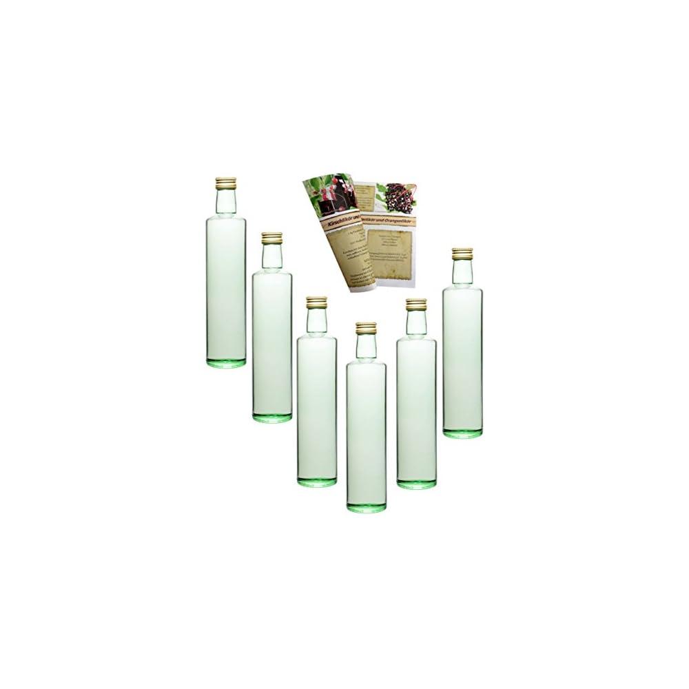 Gouveo Leere 500 Ml Dora Glasflaschen Incl Schraubverschluss Gold Und 28 Seitige Flaschendiscount Rezeptbroschre Likrflaschen Schnapsflaschen Essigflaschen Lflaschent Leere 500 Ml