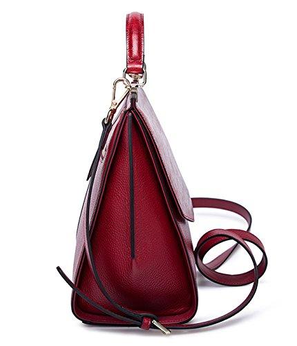 SAIERLONG Nouveau Femmes Vin rouge Cuir Véritable De Vache Sacs à main Sacs portés épaule Vin rouge
