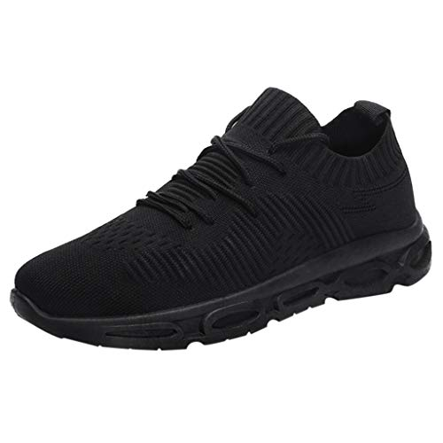FeiBeauty Herren Sneakers Mode Volltonfarbe Socken Schuhe Stricken Oberer Breathable Lace Up Leichte Sport Laufschuhe Schwarz-Weiss 39-44 -