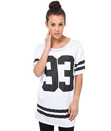 Weiße Baseball-t-shirt (6803-WHT-14: Baseball T-Shirt 93 Print (Weiß, Gr.42))