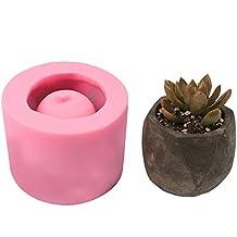 Decdeal 1PC Facemile Molde de Silicona para Hacer Maceta DIY Molde de Florero de Cemento