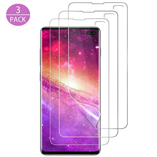 SEEZEN Samsung Galaxy S10 Plus Schutzfolie,[3 stück] [Nass-Installation] [Vollständige Abdeckung] [Blasenfreie] HD Klar Flexible Folie für Samsung Galaxy S10 Plus