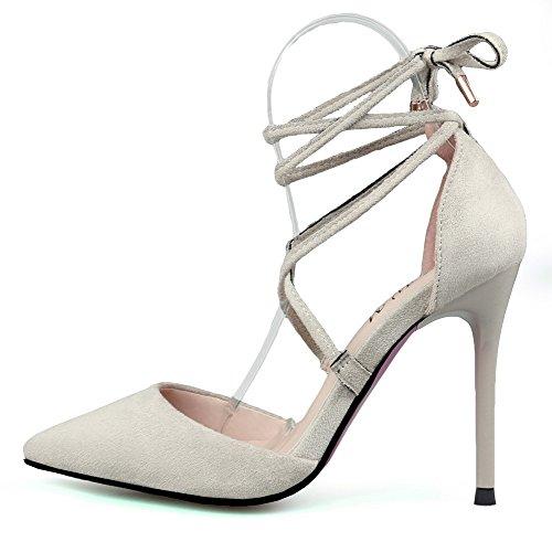 AalarDom Femme à Talon Haut Pointu Lacet Couleur Unie Chaussures Légeres Gris-Ruban Cheville