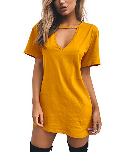 l Sommerkleid Minikleid Lose V-Ausschnitt T Shirt Kleid Strandkleid Blusenkleid Kurze Partykleid (Gelb, L) ()