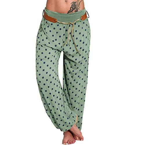 BASACA Pantalon Femmes Largeur De Bande Imprimée Décontracté Taille Haute Blanc Jean Pantacourt Ete Harem Yoga Mat (Armée Verte, XXXL)