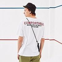 MN camiseta de manga corta de los hombres ocasionales de cuello redondo suelta la camiseta de la juventud de los hombres de la impresión,blanco,XXL