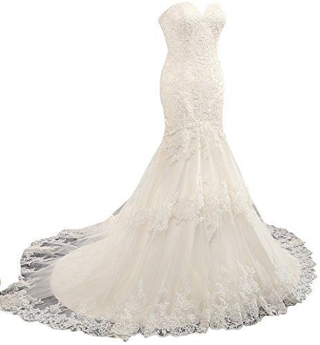Changjie Damen Schulterfrei Meerjungfrau SpitzeApplique Hochzeitskleider  Brautkleid Sweep Zug Weiß