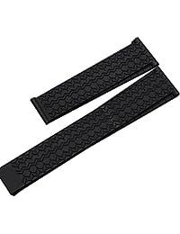 Nuevo 22mm Neumáticos grano negro caucho de silicona despliegue banda correa de reloj