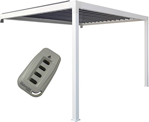 Priximbattable Pergola bioclimatique en Aluminium adossée motorisée avec LED - 4x3m - Blanc