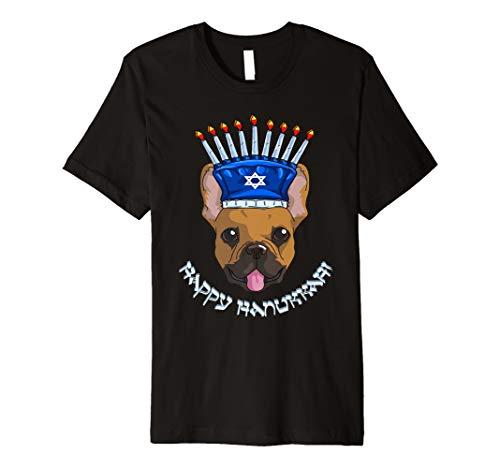 Frenchie Menora Hut T-Shirt Chanukka Chanukah Shirt
