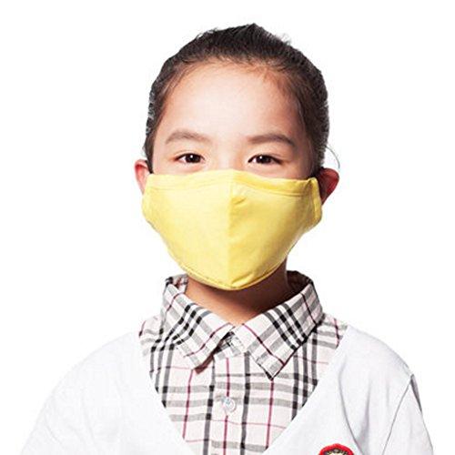 Kinder PM2.5 Staubdicht Anti-bakterielle Gesicht Mund-Maske + 3 Filter, Gelb