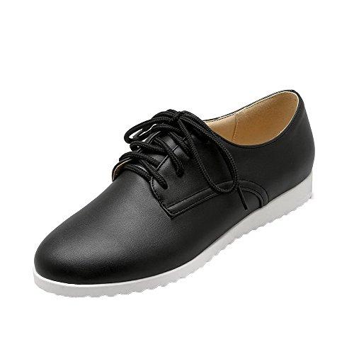 AgooLar Damen Rein PU Niedriger Absatz Schließen Zehe Schnüren Pumps Schuhe, Schwarz, 40