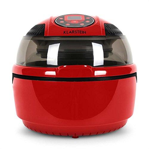 Klarstein VitAir • Freidora sin aceite de aire caliente • Antiadherente • Potencia 1400W • Capacidad 9L • Programas automáticos • Placa Halógena • Pantalla LCD • Asar • Cocer • Freír • Rojo