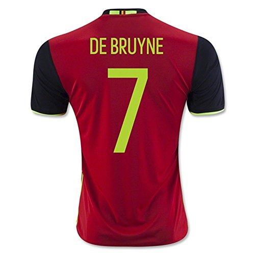Maillot de Football Euro 2016 UEFA Belgique Kevin de Bruyne Numéro 7 Domicile Rouge XL rouge - Rouge