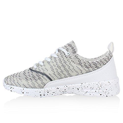 Damen Sportschuhe | Runners Sneakers | Laufschuhe Fitness | Trendfarben | Sportliche Schnürer Weiss Beige Muster