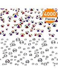 4000 Stücke Rückseite Strasssteine Glas Runde Edelstein Steine 6 Größen 1,6-3 mm für Nagel Kunst Telefon Handwerk DIY (Klar und Kristall AB Farbe)