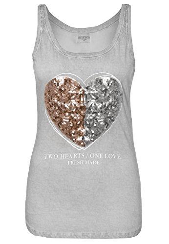 Fresh Made Damen Pailletten Top - Two Hearts | Leichtes Shirt mit Statement-Print ärmellos light-grey XL