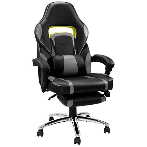 LANGRIA Racer Gaming Stuhl Computerstuhl Schreibtischstuhl mit Fußstütze und Lendenkissen, Wippkunktion, Höhenverstellbar, schwarz und grau (Gepolstert Leder Schwarz Rückenlehne)