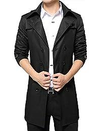 VOBAGA Doppio Petto Slim Fit Windbreaker giacca lunga Trench uomo con  cintura cappotto Outwear cf91aea2b96
