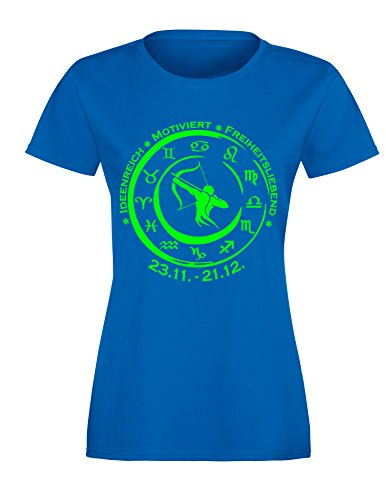 Sternzeichen Schütze - Astrologie - Damen Rundhals T-Shirt Royal/Neongruen