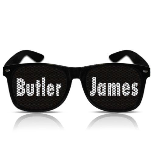 ör Partygag Scherzartikel Motivbrille Dinner for one Butler James (NERD schwarz) (Silvester Sonnenbrille)