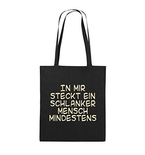 Comedy Bags - In mir steckt ein schlanker Mensch mindestens - Jutebeutel - lange Henkel - 38x42cm - Farbe: Schwarz / Silber Schwarz / Beige