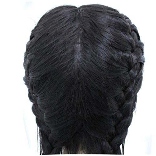 DRESS_start Synthetisches Haar Geflochten Doppelspitze PerüCke Lang Schwarz Ombre Schwarze PerüCken 26 Inche Synthetische PerüCken Wig Schwarz