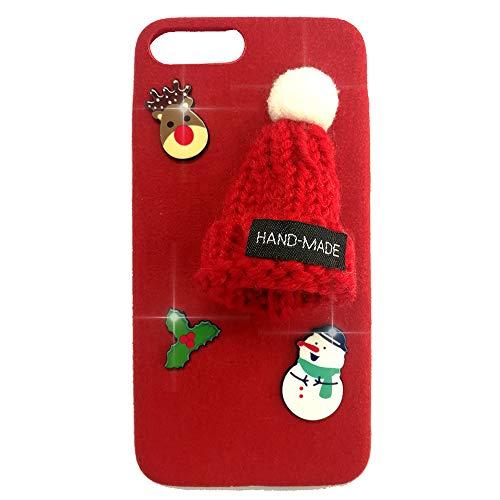 ne 7 Hülle, iPhone 8 Hülle (Nicht für Plus), Hülle, Gestrickte rote Weihnachtsmütze Schneeflocke, Weiches Flexibles TPU Material, Bumper Ultra Slim Fit Schutz Cover für iPhone 7/8 ()