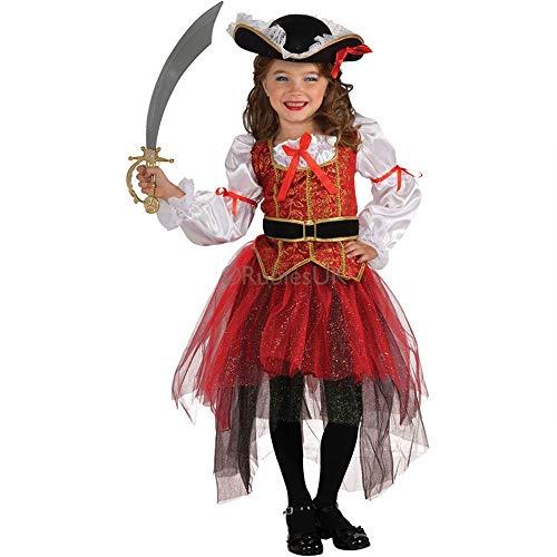 XXF Kinder Performance Kostüme Festliche Tanz Kleid Rock Mädchen Set Cosplay Piraten Thief Halloween Kinder,Fotofarbe,S (95cm-105cm)