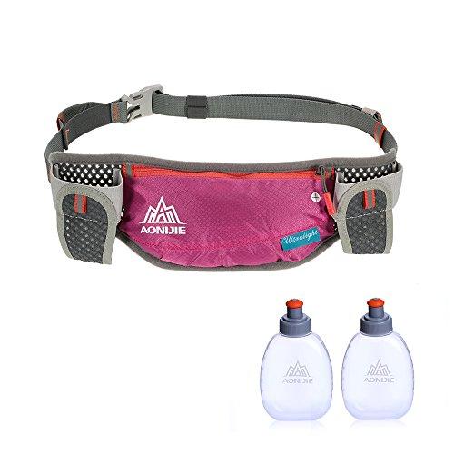 Lixada Running Hydration Belt Bottle Holder Belt Reflective Running Water Belt Fanny Pack Waist Packs with Two 170ml Water Bottle
