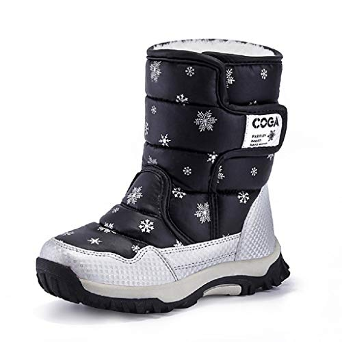 DoGeek Kids Snow Boots Girls Boys Winter Fur Lining Boots Waterproof Outdoor Warm Shoes ...