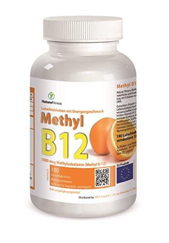 Aus Der Natur B12-vitamine (B12 Methyl 180 Stück Lutschtabletten Orangengeschmack mit 1000mcg Methylcobalamin pro Kapsel)