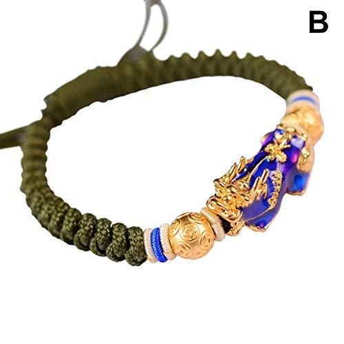 Ablita Herren Brave Troops Amulet Armband Farbwechselnd Drache Dekor Buddhistisch Schmuck - B