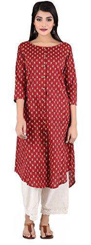 ANAYNA Women's Cotton Printed Assymetrical Front Open Kurta (Red) (XXL)
