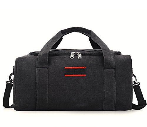 WOJIA Double Verdickung Leinwand Gepäck Sporty Gear Bag weekender Large Braun Schwarz