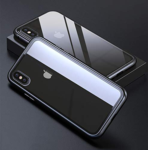 SLONG Kompatibel Mit iPhone XS Max, Xr, Xs, X, 7p/8plus Glass Phone Case, Protective Case, Magnetic Flip Cover, Metal Frame,Black,iphone7/8