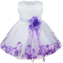 Freebily Vestido de Princesa Bautizo Cumpleaños Vestido Infantil Elegante Pétalos de Flores para Bebé Niña (3 a 24 meses)