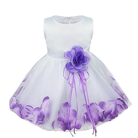 TiaoBug Baby Girls Formal Party Dress Flower Petals Tulle Wedding Dress Purple 18-24 Months