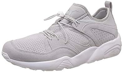 Puma Men's Blaze Of Glory Soft Grey Violet, Grey Violet and Puma White Leather Sneakers - 8 UK/India (42 EU)